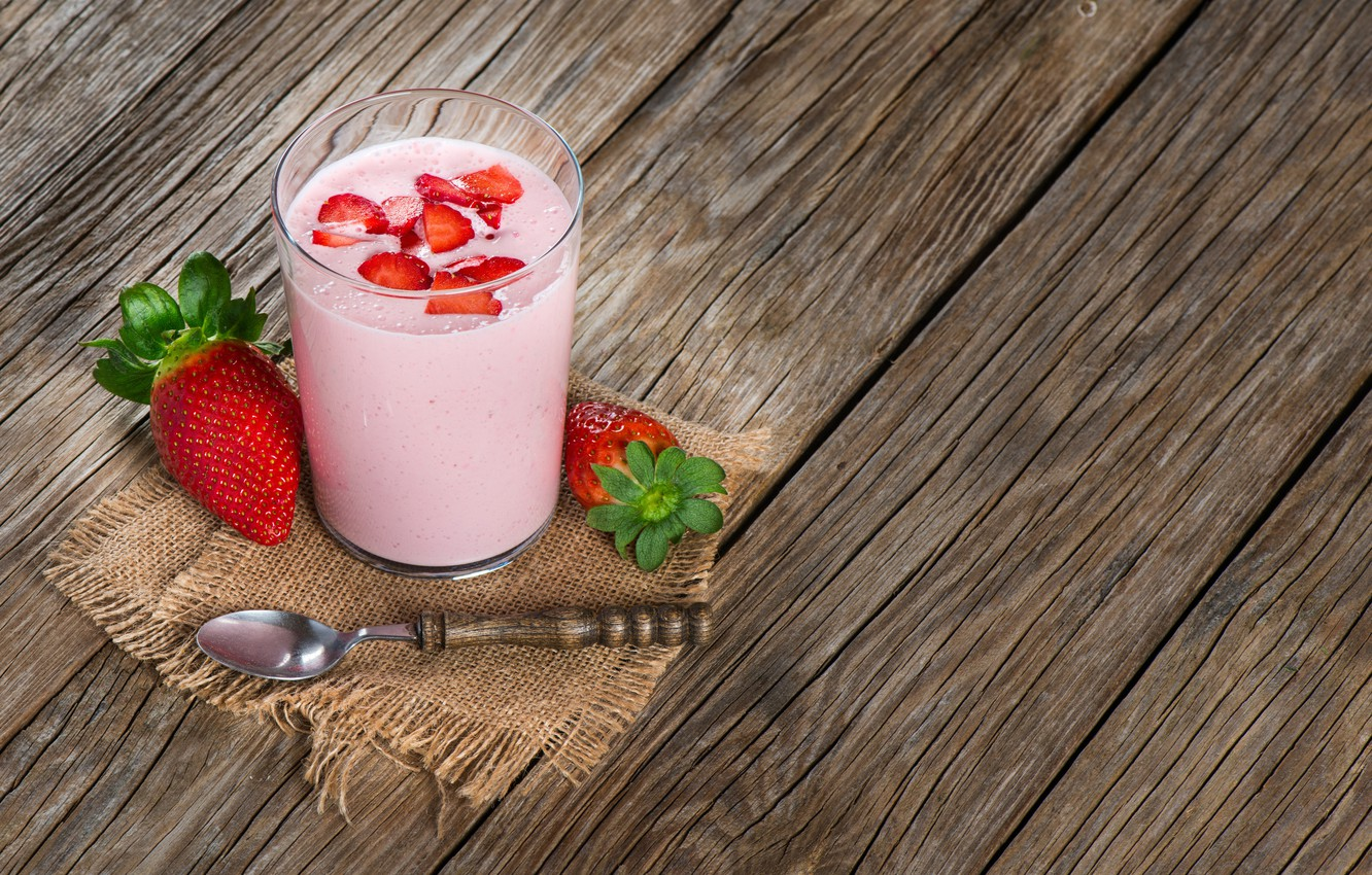 Photo wallpaper berries, strawberry, drink, smoothies