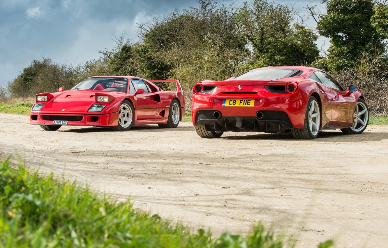 Photo wallpaper road, background, Ferrari, Ferrari, F40, GTB, 488