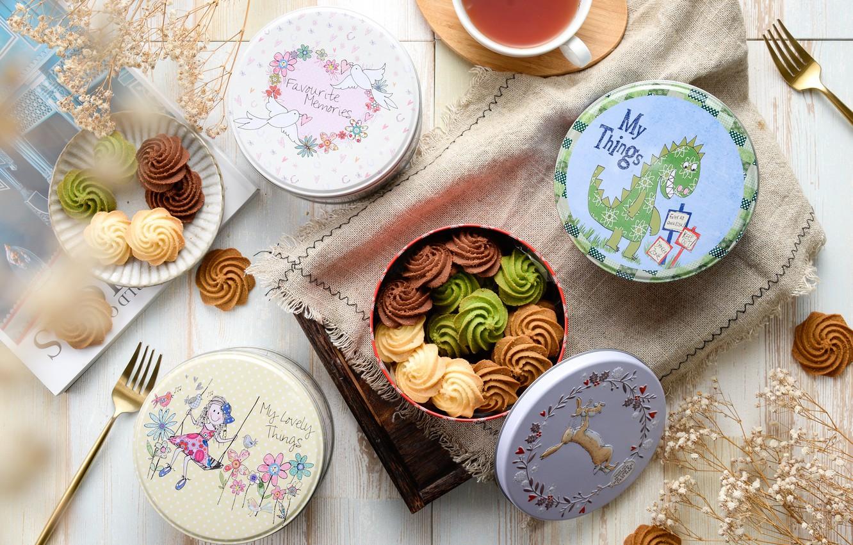 Photo wallpaper tea, cookies, cakes, boxes