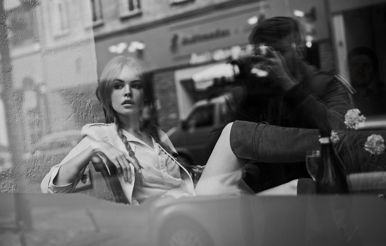 Photo wallpaper reflection, sweetheart, window, photographer, beauty, cafe, black and white, braids, boots, Maxim Guselnikov, Anastasia Shcheglova, …