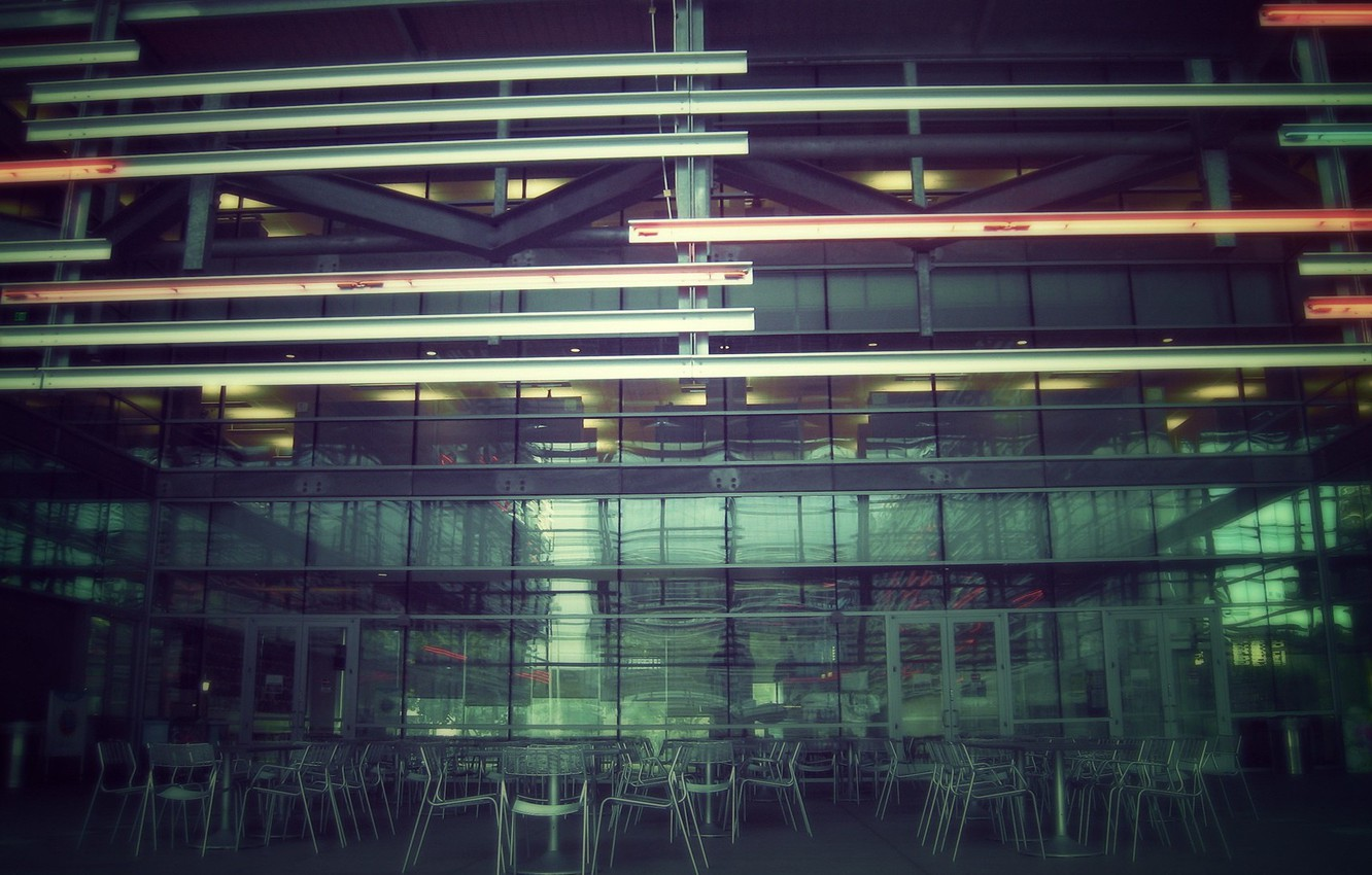 Photo wallpaper the city, minimalism, cafe, architecture