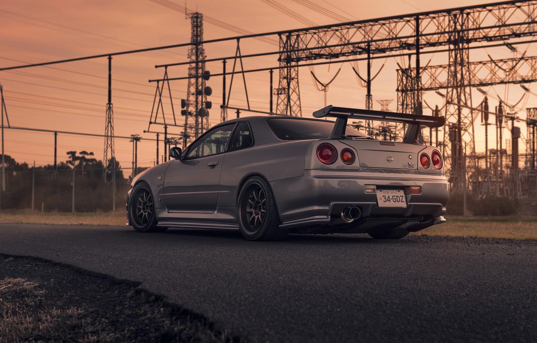 Photo wallpaper Nissan, Car, Skyline, Sport, R34, Rear