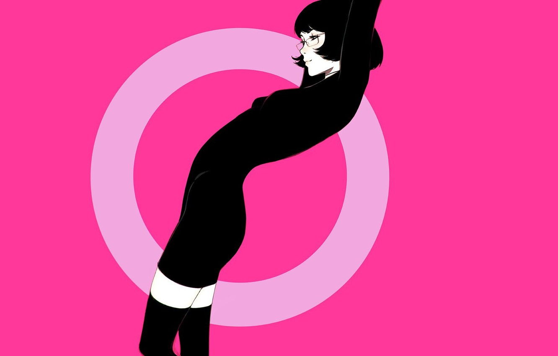 Photo wallpaper girl, pose, haircut, round, brunette, glasses, black dress, pink background, black stockings, Ilya Kuvshinov