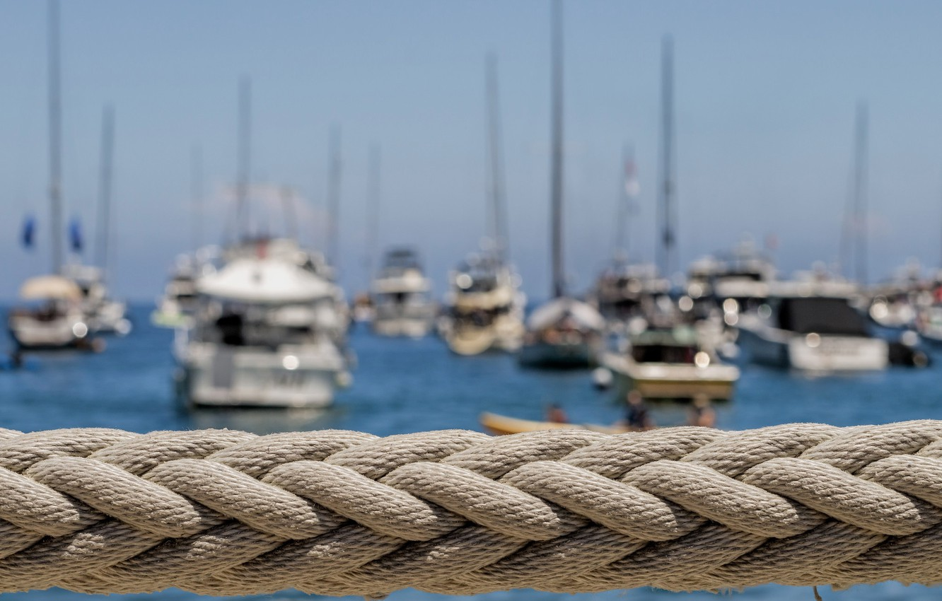 Photo wallpaper macro, yachts, boats, rope, harbour