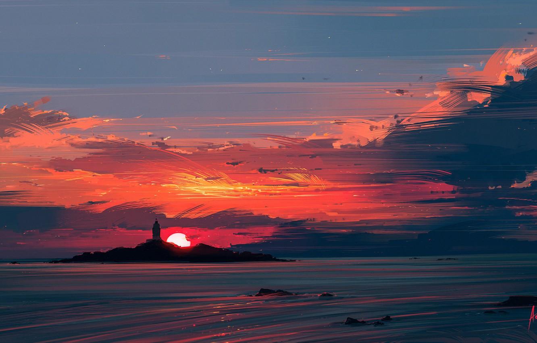 Photo wallpaper sea, the sun, sunset, lighthouse, Aenami, Alena Aenam The, Close to the Sun, Alyona Velichko, …