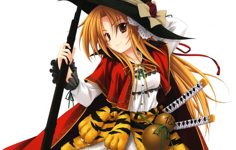 Photo wallpaper girl, gun, weapon, hat, tiger, anime, samurai, rifle, japanese, bishojo, Oda Nobunaga, tora, The Ambition …