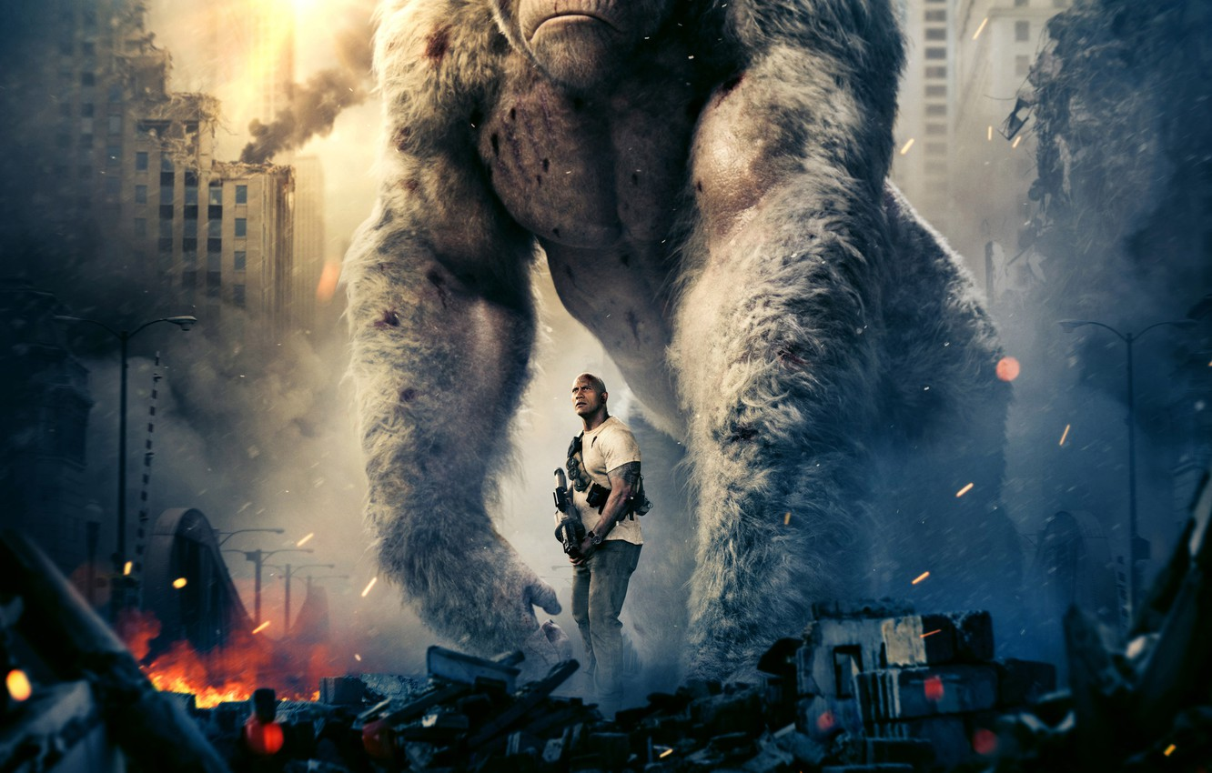 Photo wallpaper the city, weapons, fiction, fire, smoke, monkey, gorilla, the ruins, huge, action, poster, Dwayne Johnson, …