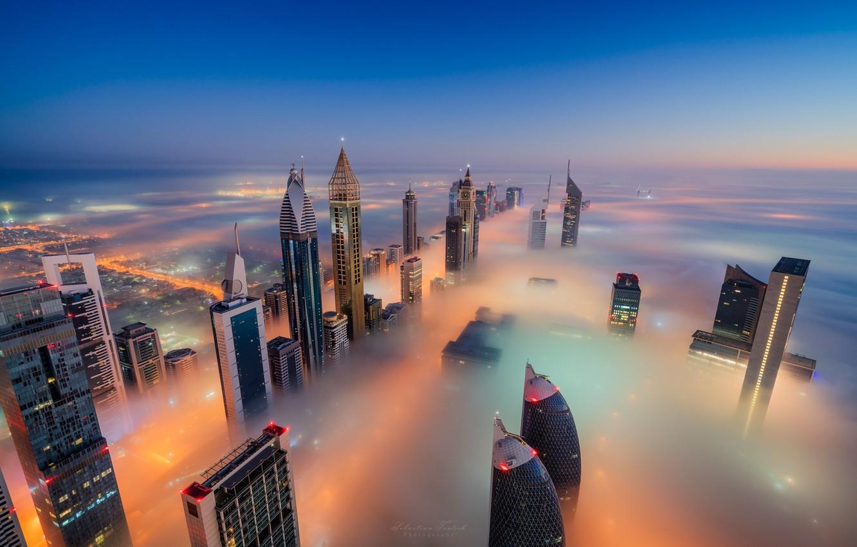 Photo wallpaper night, the city, lights, fog, Dubai, UAE