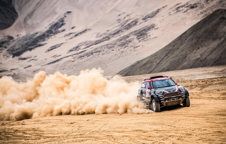 Photo wallpaper Sand, Mini, Dust, Sport, Desert, Speed, Race, Rally, Dakar, Dakar, SUV, Rally, X-Raid Team, MINI …