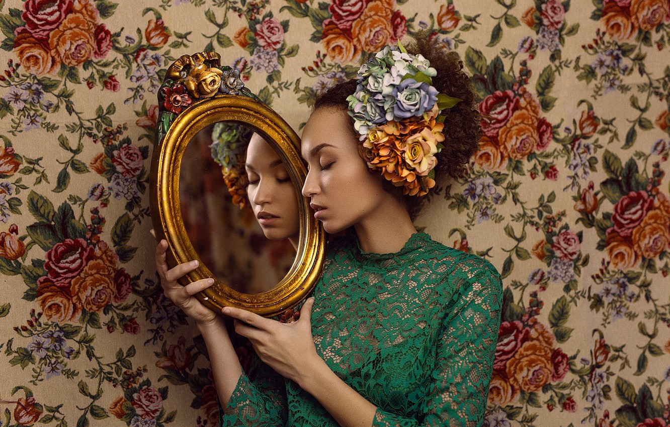 Photo wallpaper girl, flowers, face, style, reflection, mood, mirror, lace