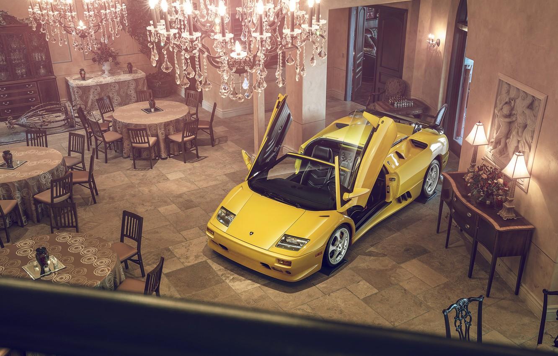 Photo wallpaper Lamborghini, Yellow, Diablo, Supercar, Doors