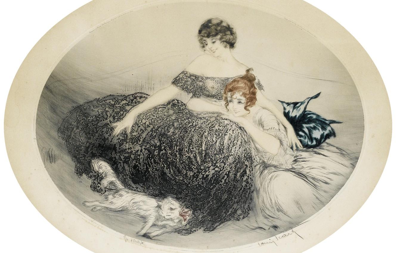 Photo wallpaper smile, white cat, 1924, Louis Icart, art Deco, etching and aquatint