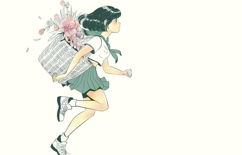 Photo wallpaper flowers, basket, shoes, girl, white background, schoolgirl, runs, sailor