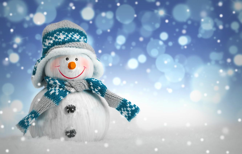 Photo wallpaper winter, snow, New Year, Christmas, snowman, Christmas, winter, snow, Merry Christmas, Xmas, snowman, decoration