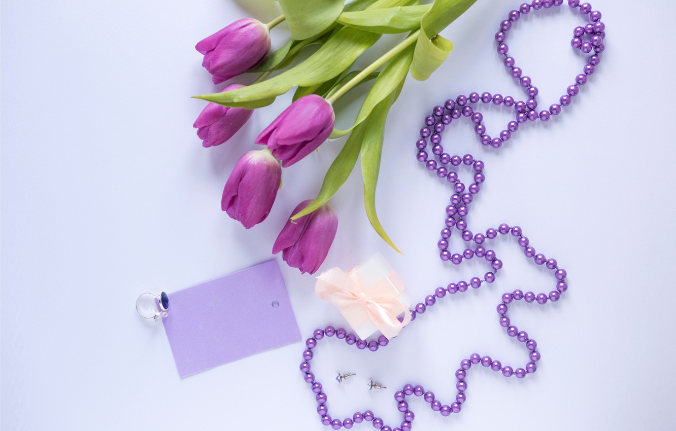 Photo wallpaper flowers, gift, bouquet, tulips, love, fresh, flowers, romantic, tulips, gift, spring, purple, with love