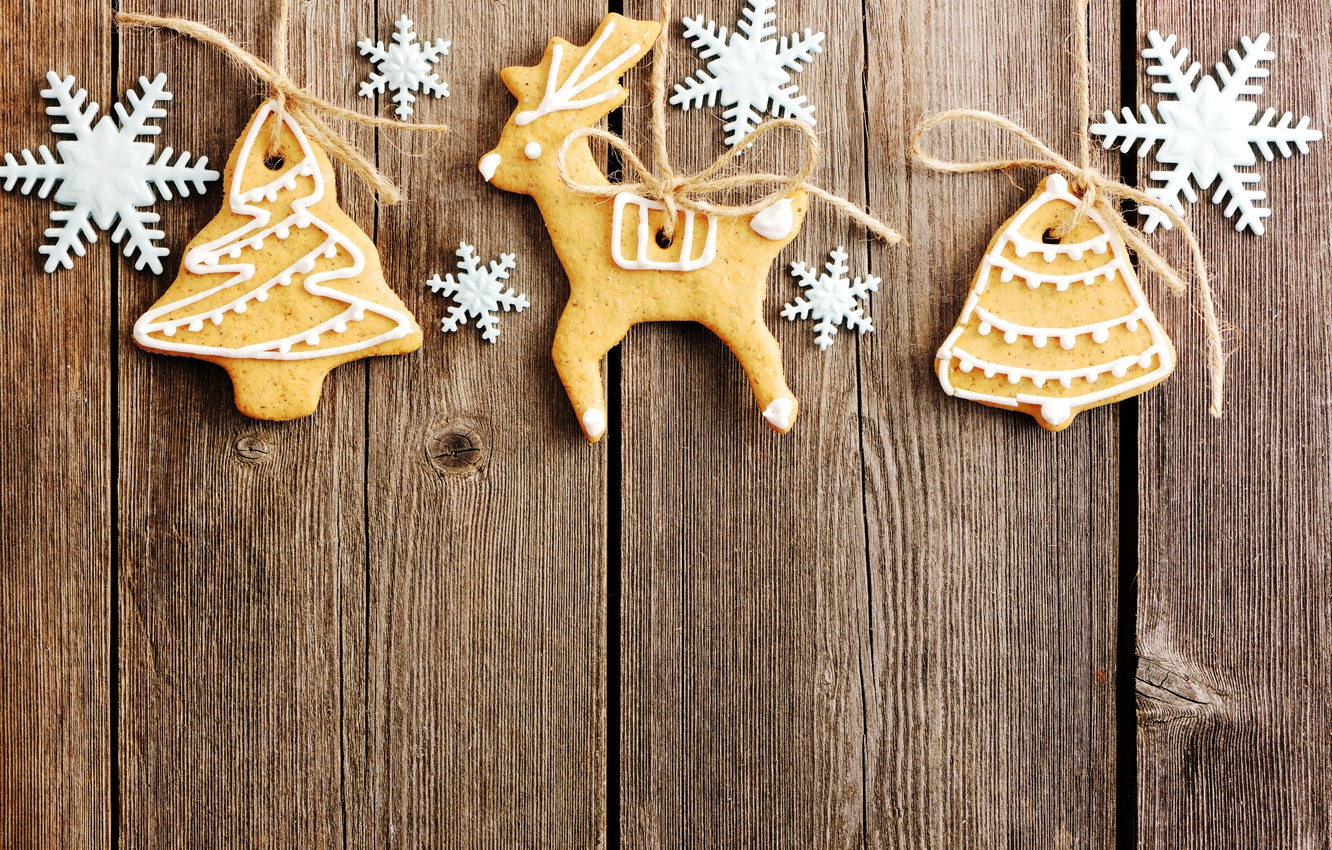 Photo wallpaper snowflakes, New Year, cookies, Christmas, wood, Merry Christmas, Xmas, cookies, decoration, gingerbread, gingerbread