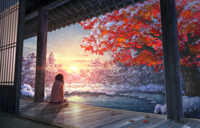 Photo wallpaper autumn, girl, tree, anime, art