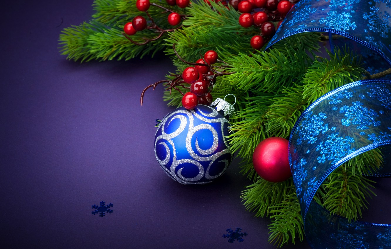Photo wallpaper Tape, Balls, Christmas, New year, Decoration, blue background, Fir-tree branches, branches of berries