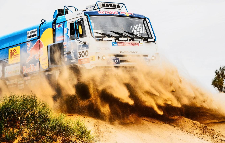 Photo wallpaper The sky, Sand, Sport, Speed, Truck, Race, Master, Beauty, Russia, Beast, 300, Kamaz, Rally, Rally, …