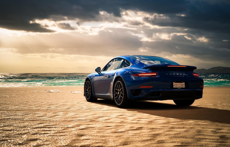 Photo wallpaper sea, beach, blue, Porsche 911 Turbo S