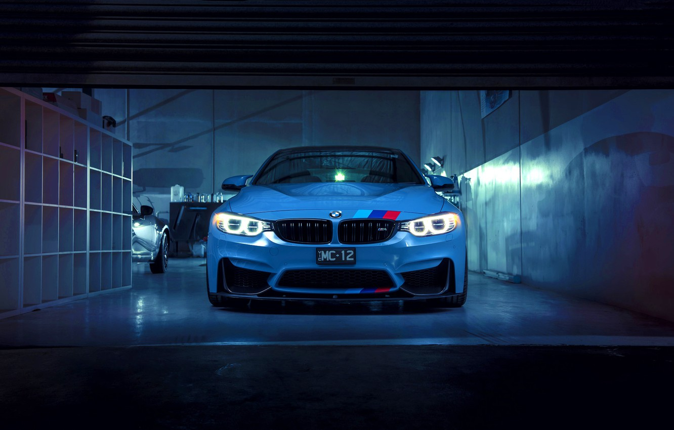 Photo wallpaper BMW, German, Car, Blue, Front, Sport, M4
