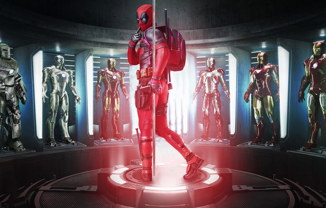 Photo wallpaper cinema, gun, pistol, armor, weapon, Deadpool, movie, Iron man, film, suit, uniform, seifuku