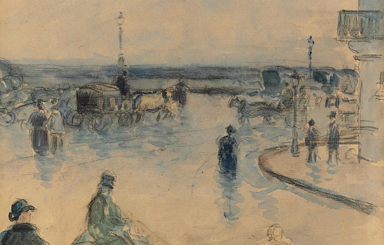 Photo wallpaper figure, watercolor, the urban landscape, Camille Pissarro, Rouen under the Rain