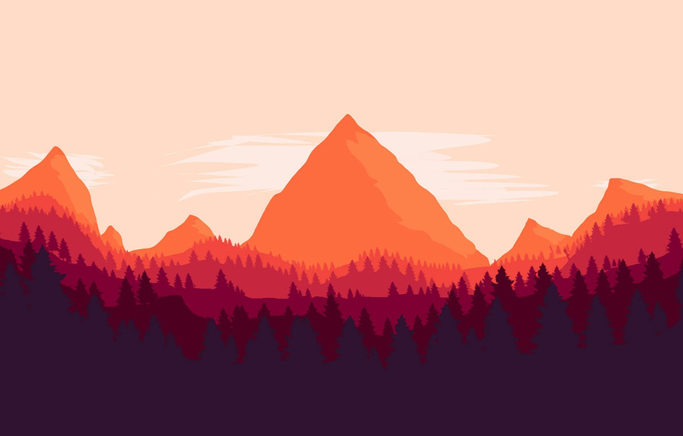 Photo wallpaper Mountains, The game, Forest, View, Hills, Landscape, Art, Campo Santo, Firewatch, Fire watch, Pewpew Mannen