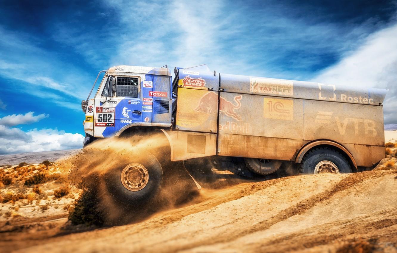 Photo wallpaper Sport, Speed, Truck, Master, Russia, Kamaz, Rally, Dakar, KAMAZ-master, Dakar, Rally, KAMAZ, The roads, Best, …
