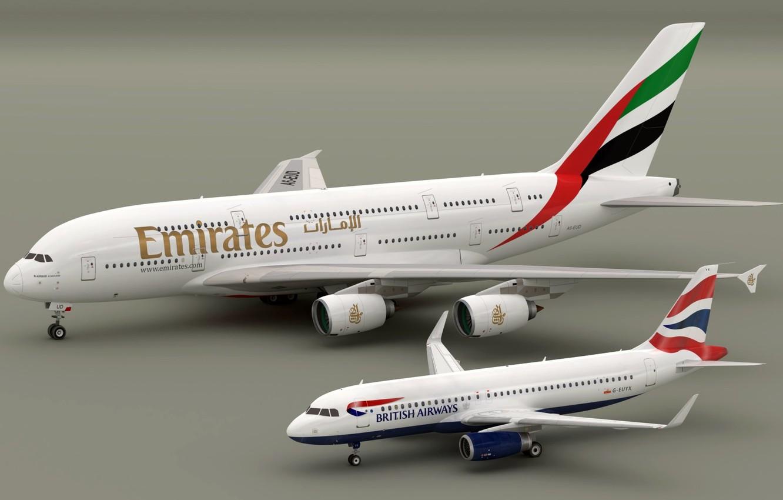 Photo wallpaper models, Airbus A320 British Aiways, Airbus A380 Emirates, Blender3D