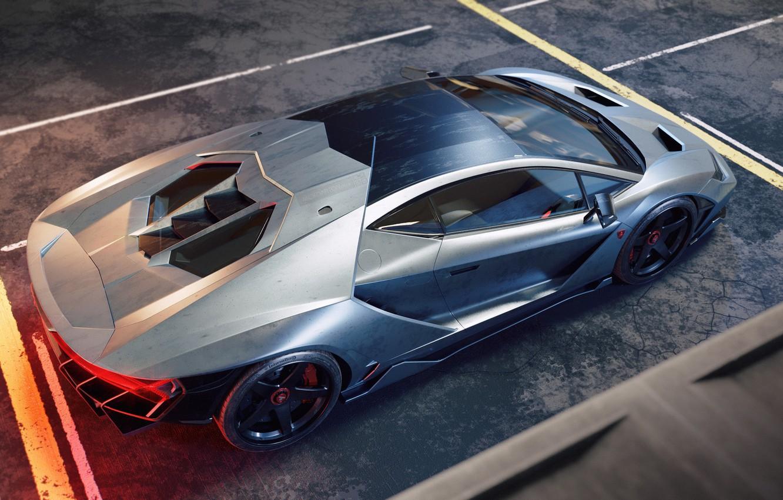 Photo wallpaper Lamborghini, Supercar, Silver, Italian, Rear, Centennial