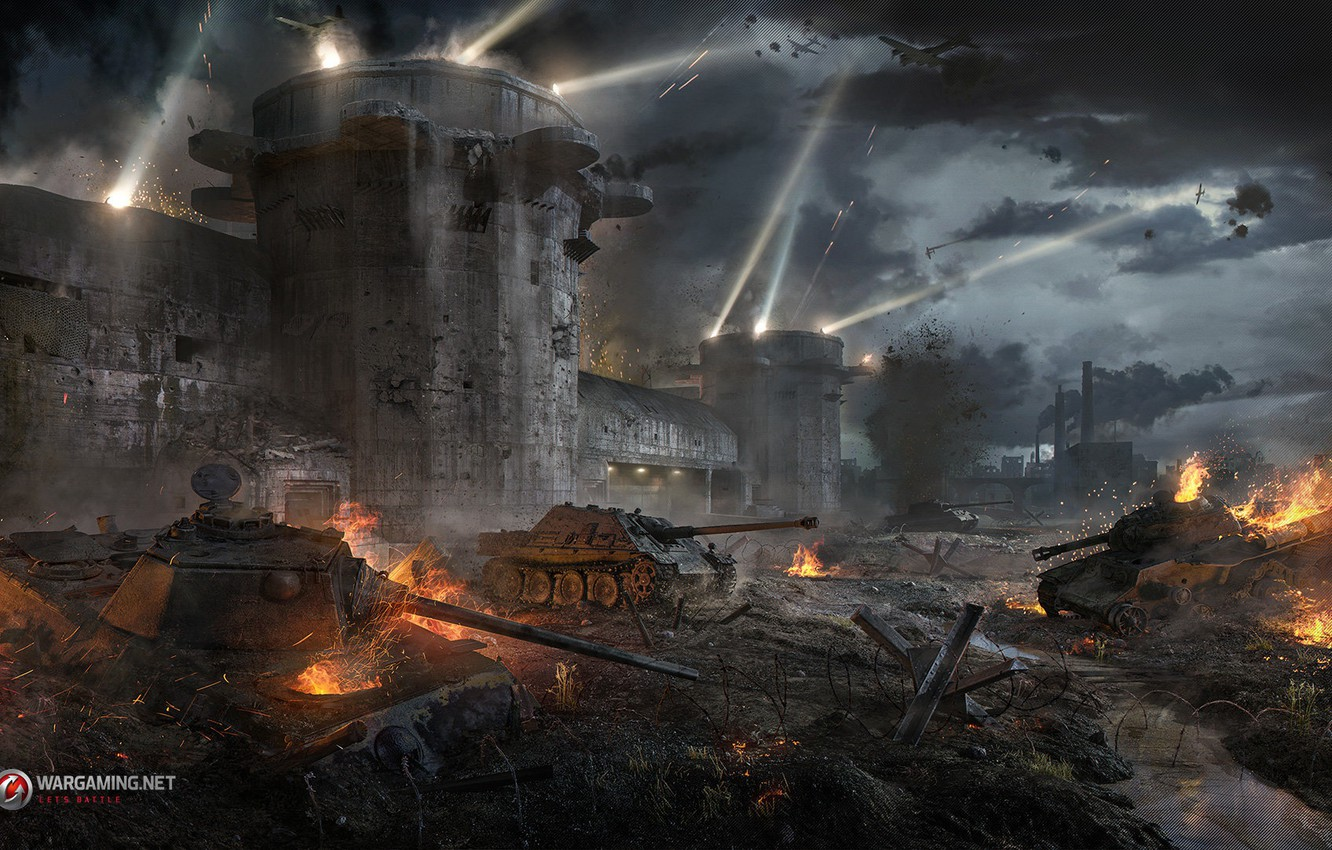 Photo wallpaper weapons, fortress, the battle, tanks, Flak tower