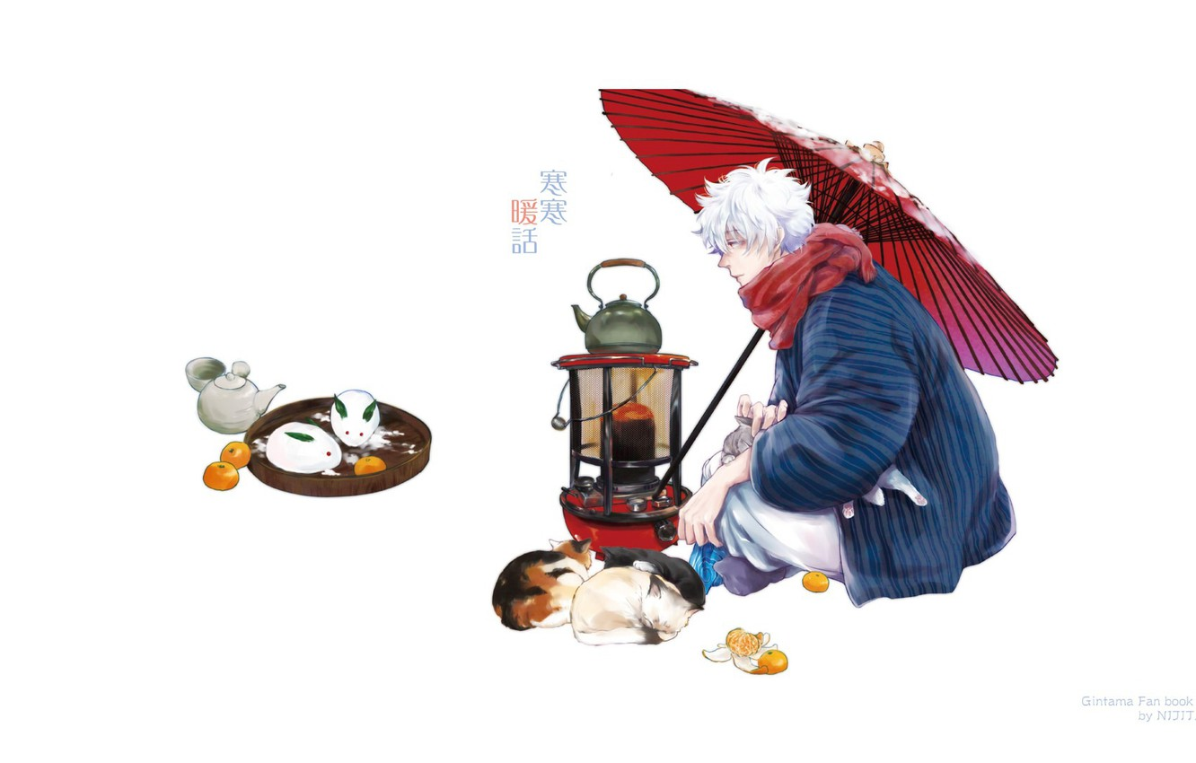 Photo wallpaper snow, cats, umbrella, scarf, kettle, plate, white background, guy, cold, tray, fan art, tangerines, Gintama, …