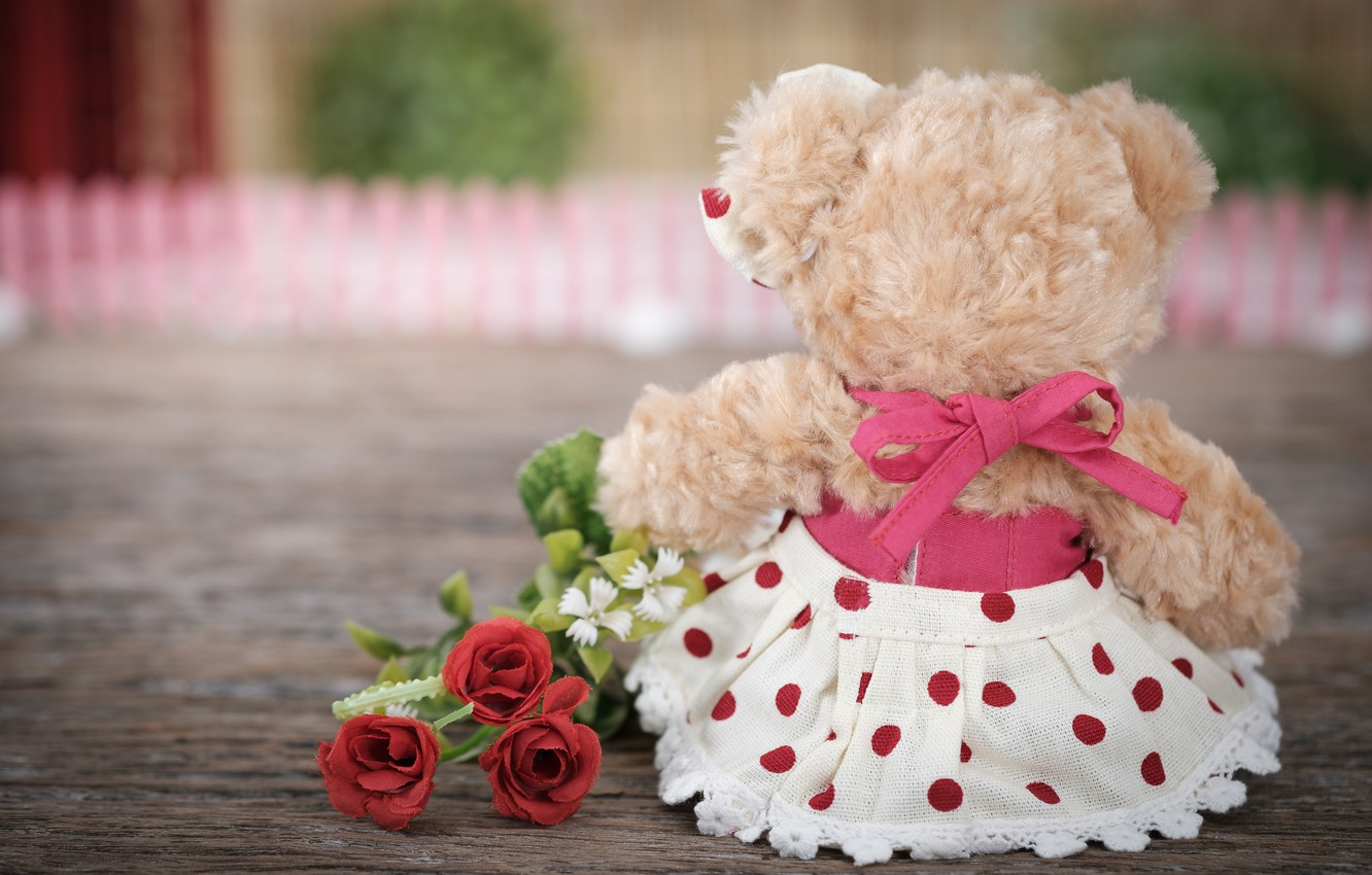 Photo wallpaper love, flowers, toy, roses, bouquet, bear, love, bear, romantic, teddy, roses, cute, lonely