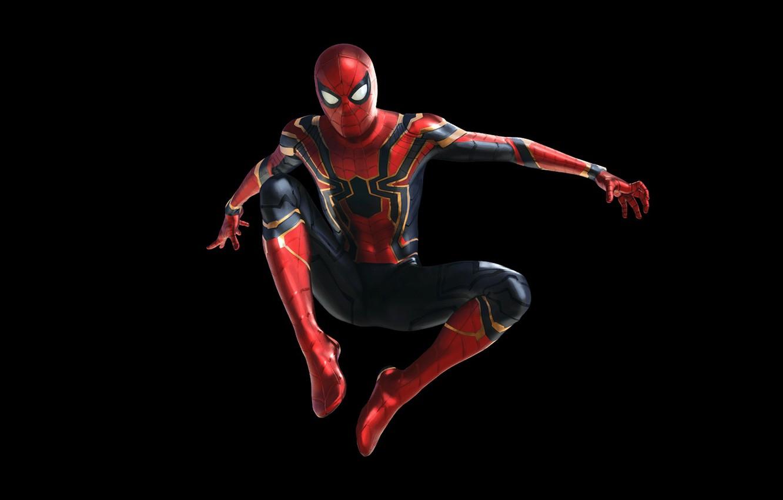 Photo wallpaper fiction, costume, black background, comic, MARVEL, Peter Parker, Spider Man, Avengers: Infinity War, Spider - …