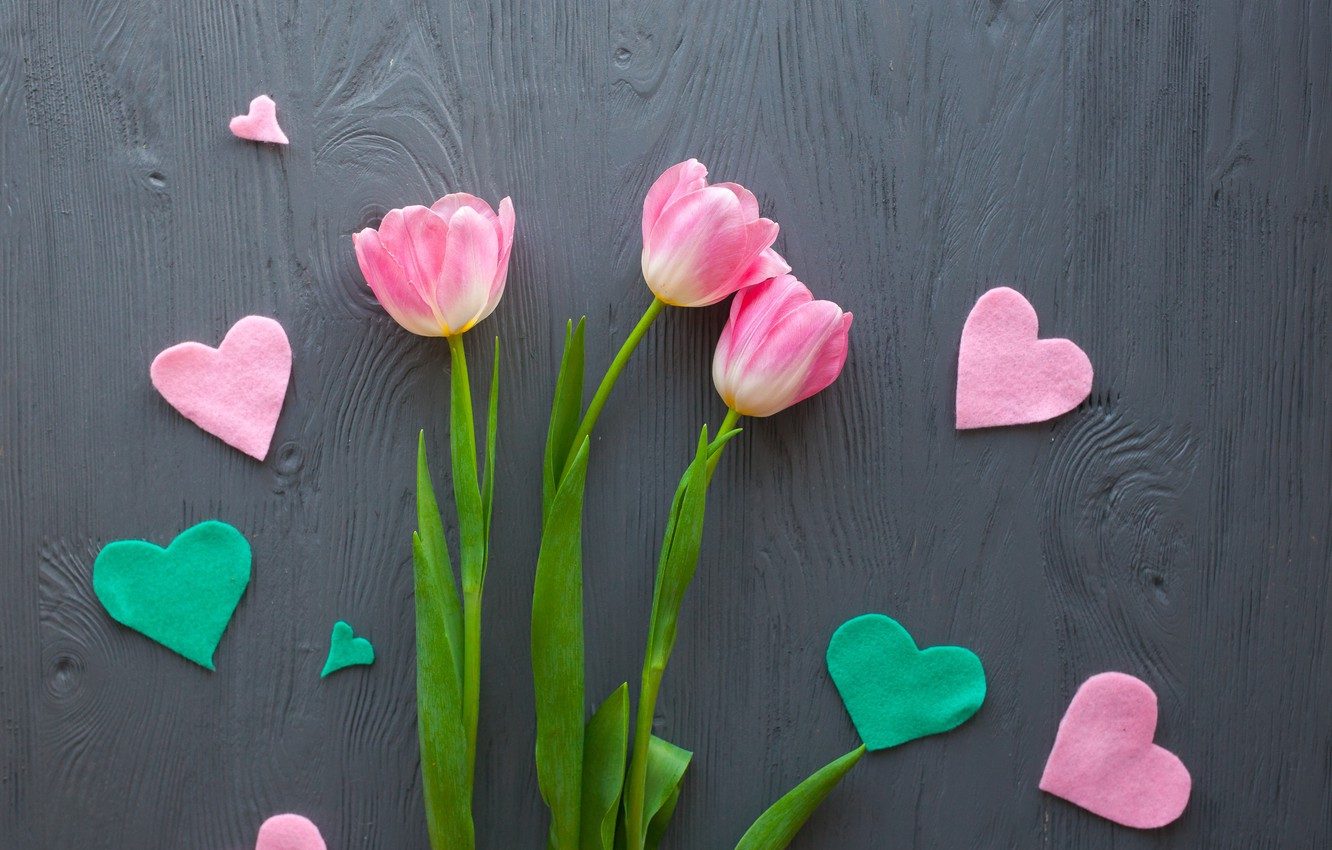 Photo wallpaper flowers, bouquet, hearts, tulips, love, pink, wood, pink, flowers, romantic, hearts, tulips, spring