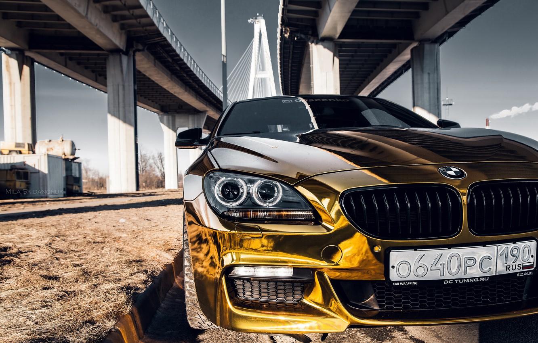 Photo wallpaper car, machine, auto, bridge, city, fog, race, bmw, BMW, car, sports car, gold, car, need …