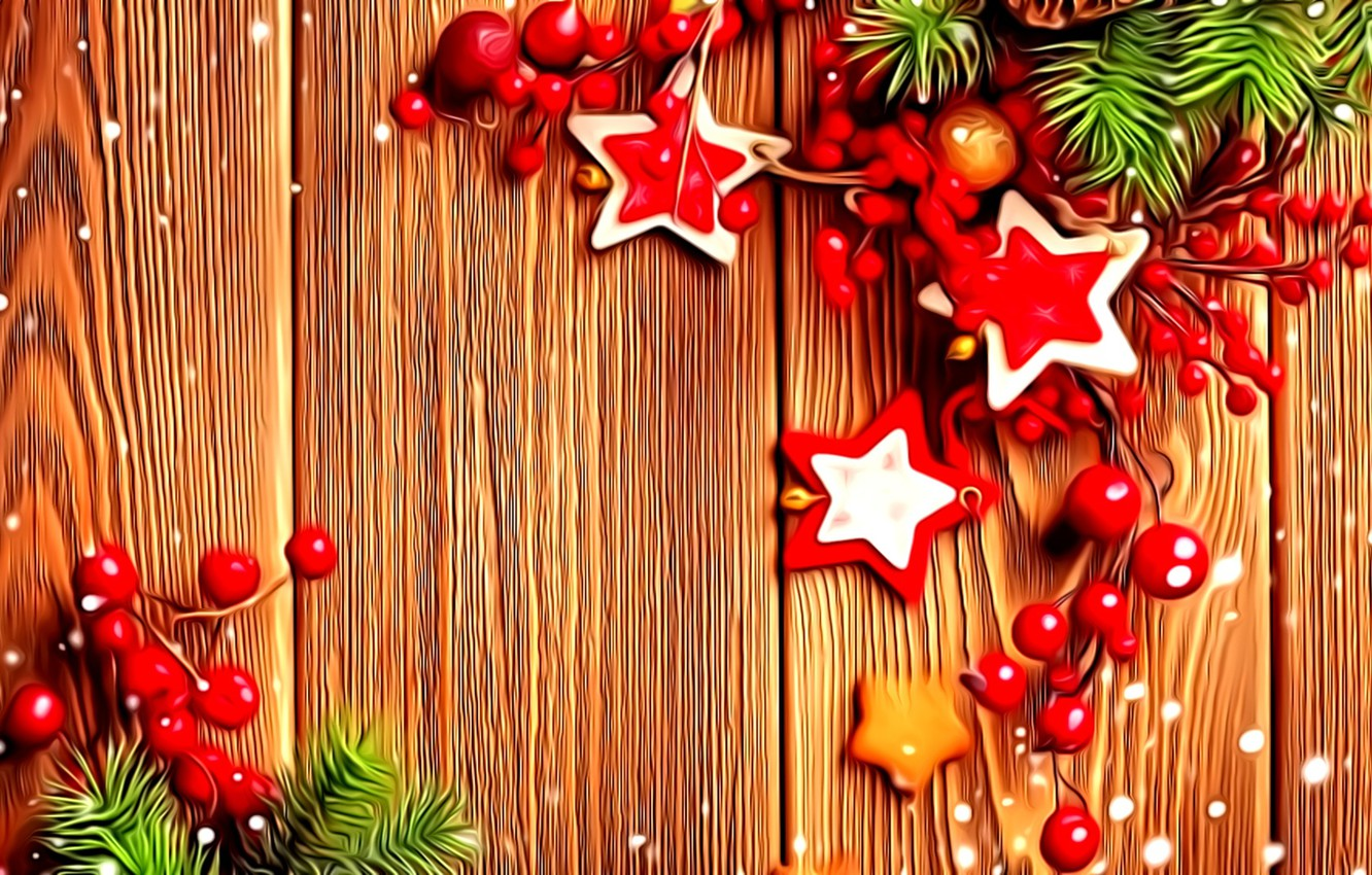 Photo wallpaper decoration, berries, rendering, fantasy, New Year, stars, picture, spruce branches, wooden boards