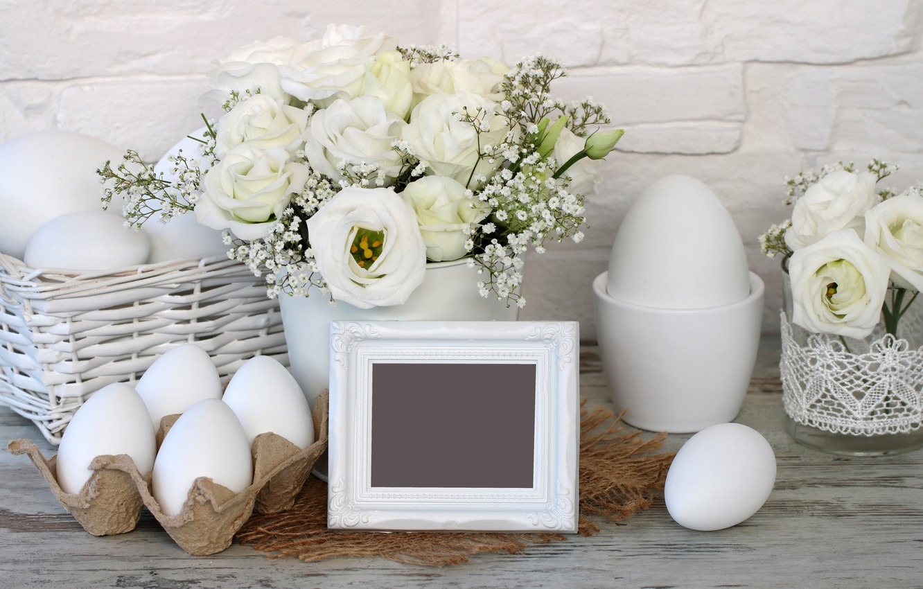 Photo wallpaper flowers, Easter, happy, white roses, flowers, spring, Easter, eggs, holiday, decoration, the painted eggs