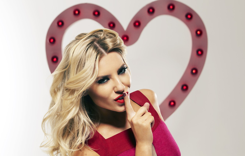 Photo wallpaper pose, blonde, gesture, Mollie King