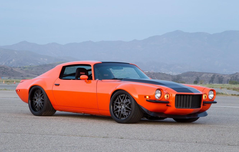 Photo wallpaper Orange, Chevrolet Camaro, Muscle car, 1973