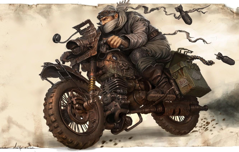 Photo wallpaper warrior, art, bike, Michal Kus, Warlord Biker