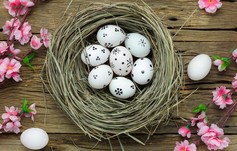 Photo wallpaper flowers, basket, eggs, spring, Easter, pink, wood, pink, blossom, flowers, spring, Easter, eggs, decoration, Happy, …