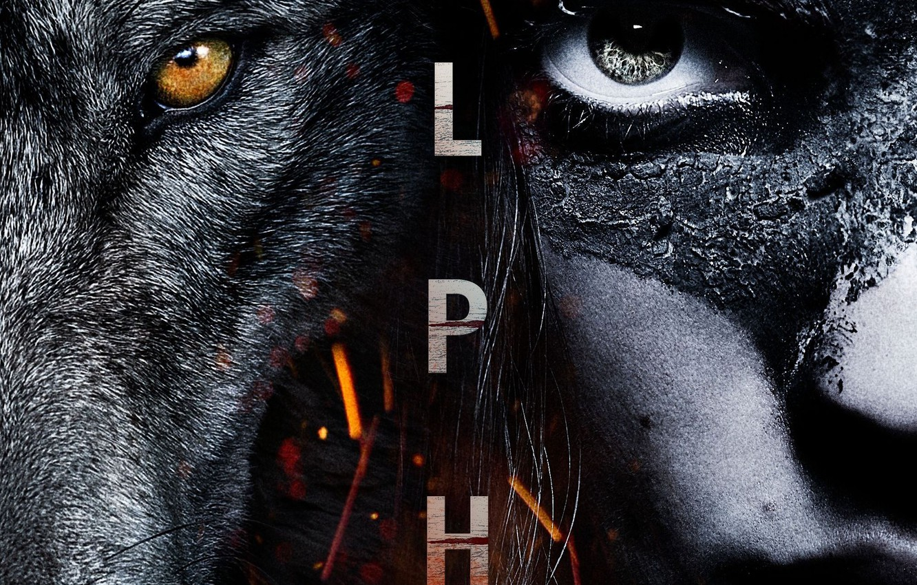 Photo wallpaper cinema, future, fire, flame, boy, movie, 2018, face, animal, wolf, human, head, spark, Alpha, filme