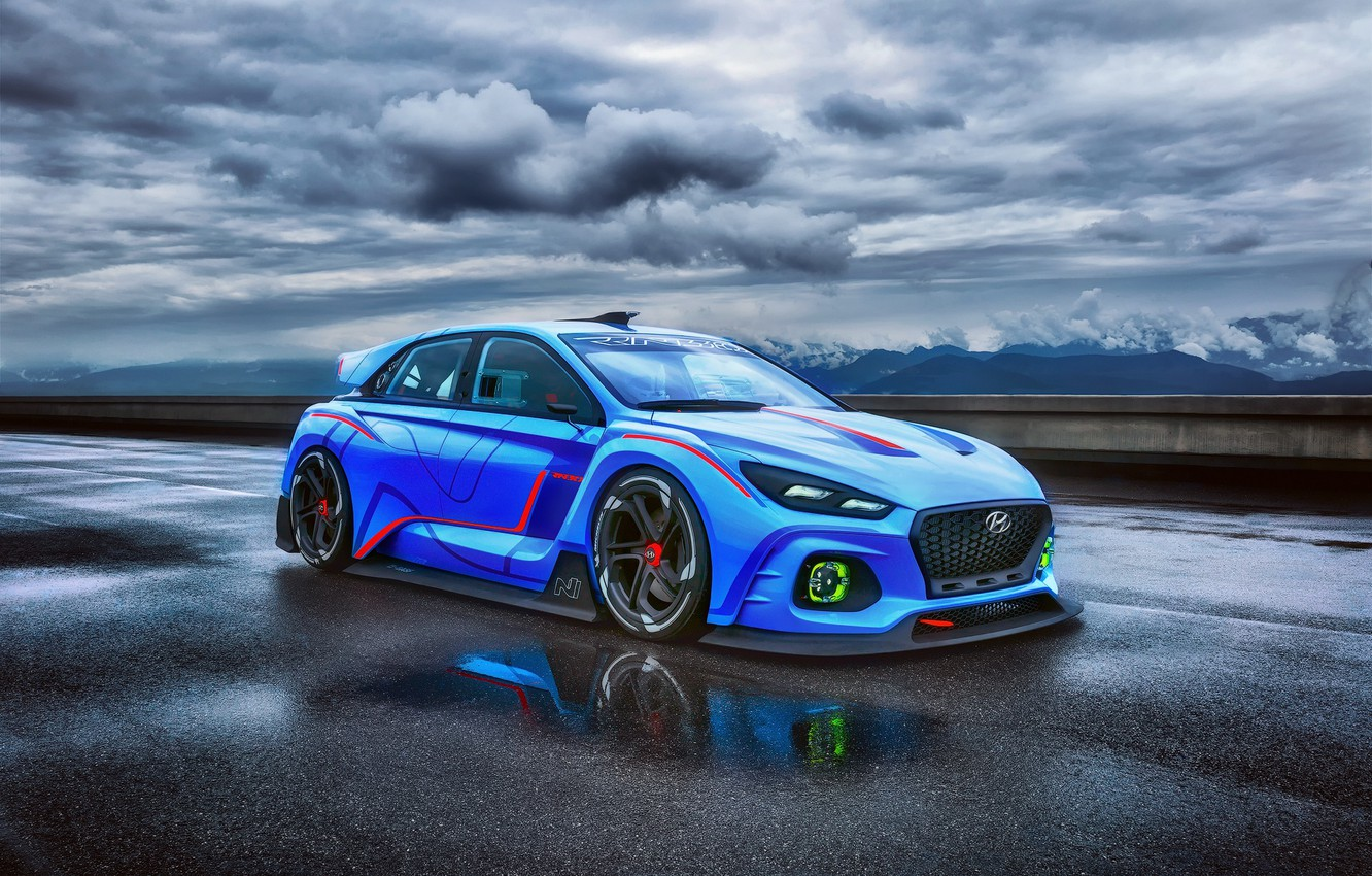 Photo wallpaper Concept, the sky, clouds, Hyundai, track, RN30