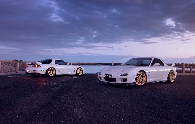 Photo wallpaper Mazda, Cars, White, RX-7, Sport