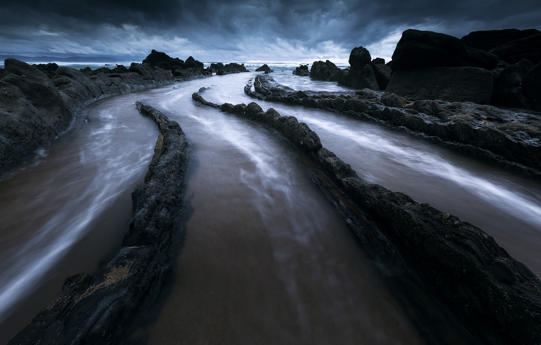 Photo wallpaper sea, the sky, clouds, nature, rocks, Barrika