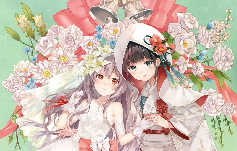 Photo wallpaper flowers, two, hood, gloves, corset, kimono, bow, bells, art, embroidery, wedding dress, bride, sanba fukahire