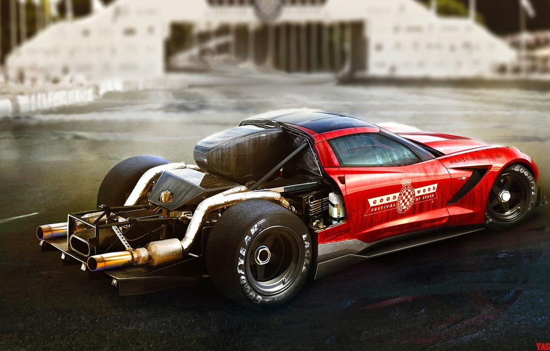 Photo wallpaper Red, Auto, Corvette, Machine, Car, Art, Art, The Corvette Z06, Yasid Design, Yasid Oozeear, YASIDDESIGN, …