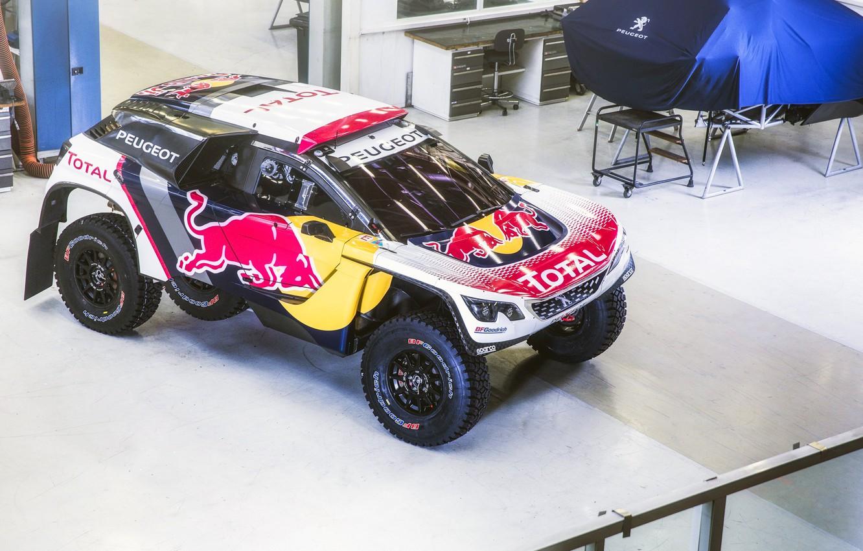 Photo wallpaper Auto, Machine, Speed, Peugeot, Red Bull, Rally, Dakar, Dakar, SUV, Rally, DKR, 3008, Peugeot 3008 …